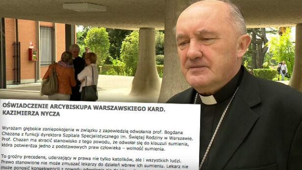 Kard. Nycz wydał oświadczenie ws. odwołania profesora Chazana TVN24