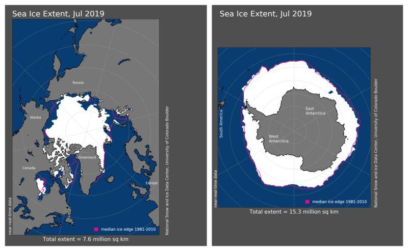 Zasięg pokrywy lodowej w lipcu 2019 (NOAA)