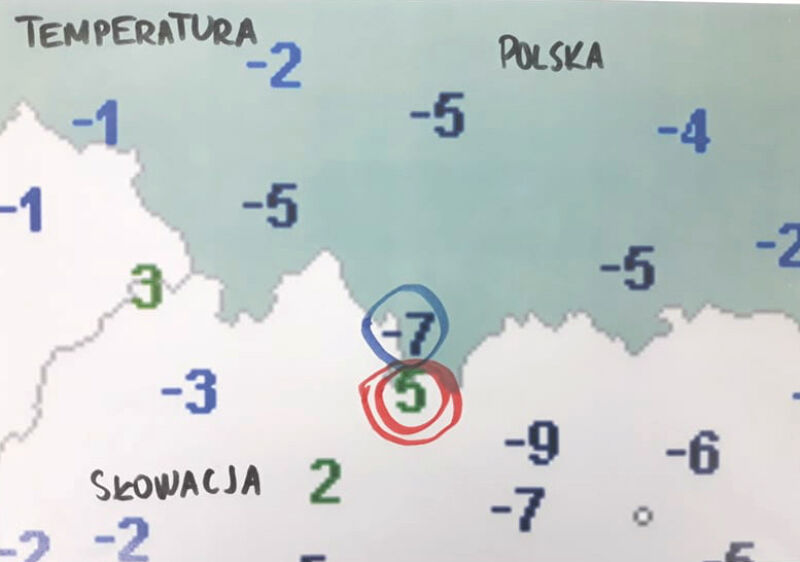 Różnica temperatury w Tatrach i na Kasprowym Wierchu w piątek rano