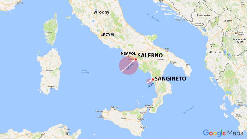 Wulkany zlokalizowano w Morzu Tyrreńskim na wysokości od Salerno do Sangineto