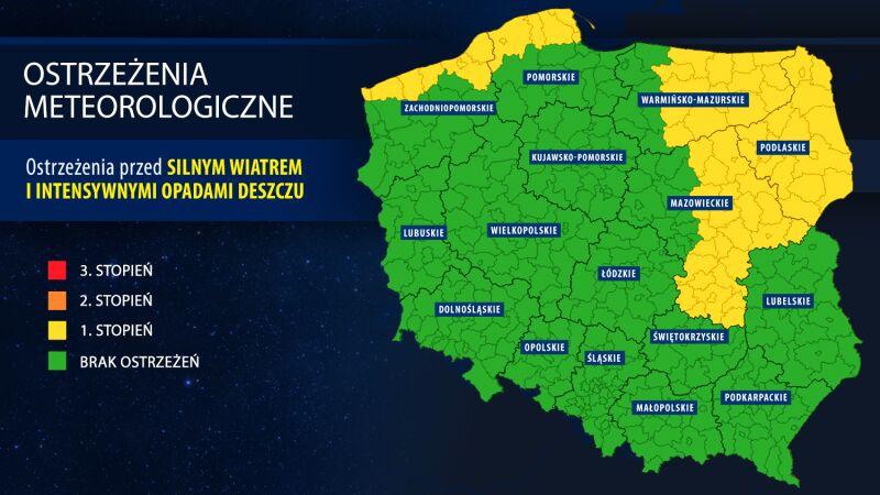 Ostrzeżenia meteorologiczne - godz. 21.30 (IMGW)