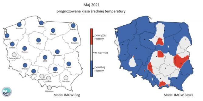 Prognozowana klasa średniej miesięcznej temperatury powietrza w maju 2021 r. według modelu IMGW-Reg i IMGW-Bayes (IMGW)