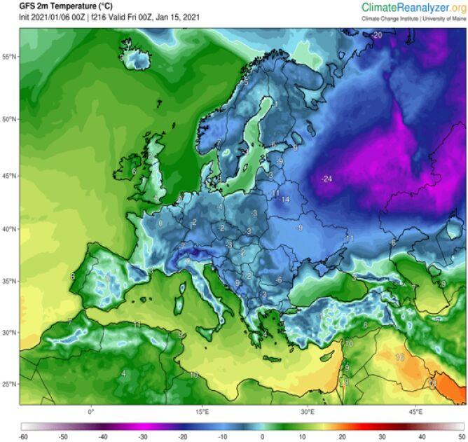 Temperatura 15 stycznia o północy według modelu GFS/University Maine (ClimateReanalyzer.org)