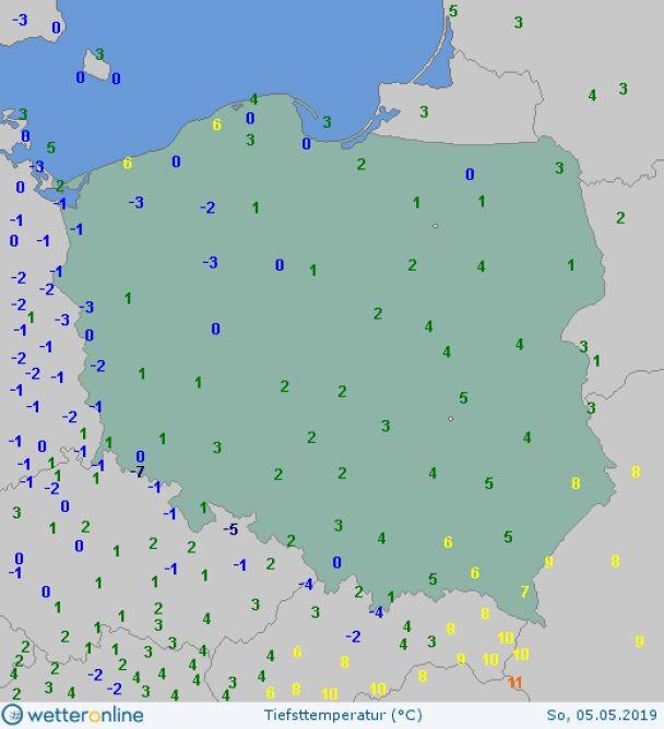 Najniższa wartość temperatury 5 maja (wetteronline.de)