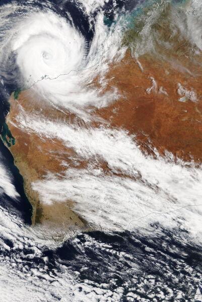 Cyklon Veronica na zdjęciu satelitarnym z soboty 23 marca (PAP/EPA/NASA WORLDVIEW / HANDOUT)