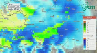 Prognoza opadów od wtorku godz. 19 do czwartku do godz. 10 (ICM UW)